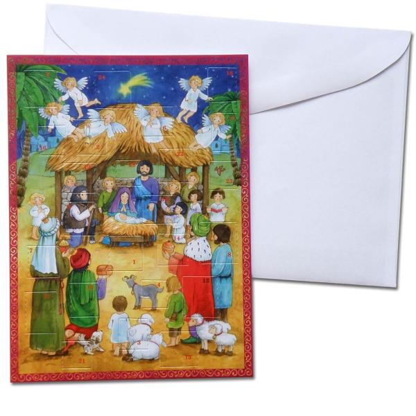 Weihnachts-Klappkarte mit Adventskalender