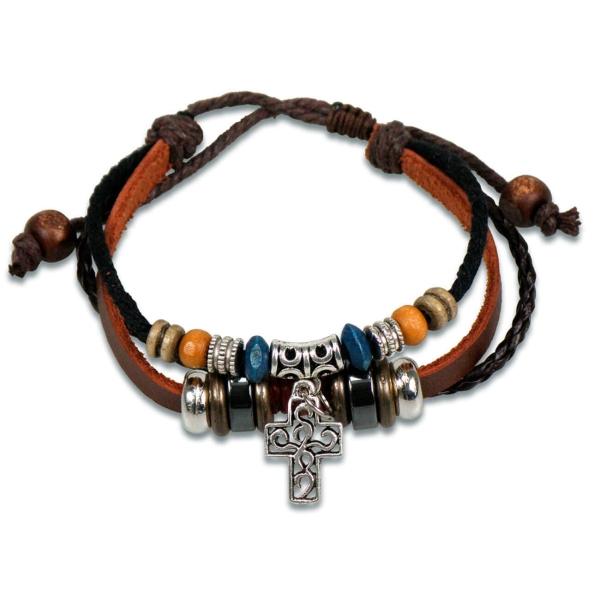 Lederarmband - Perlen/Kreuz