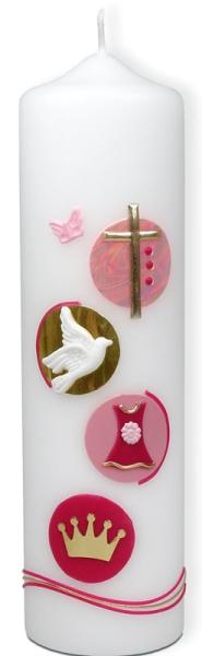 Taufkerze - Mädchen rosa