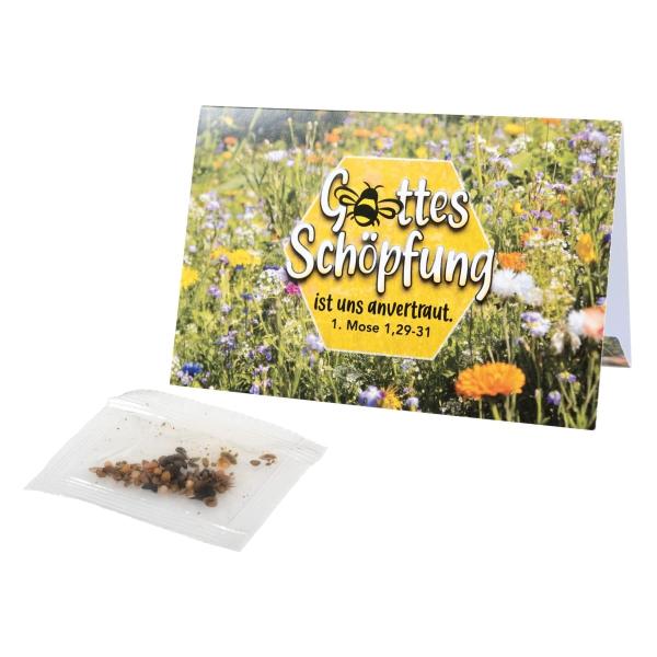 Klapp-Kärtchen mit Bienenwiesen-Samenmischung