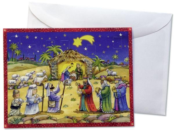 Doppelkarte mit Adventskalender